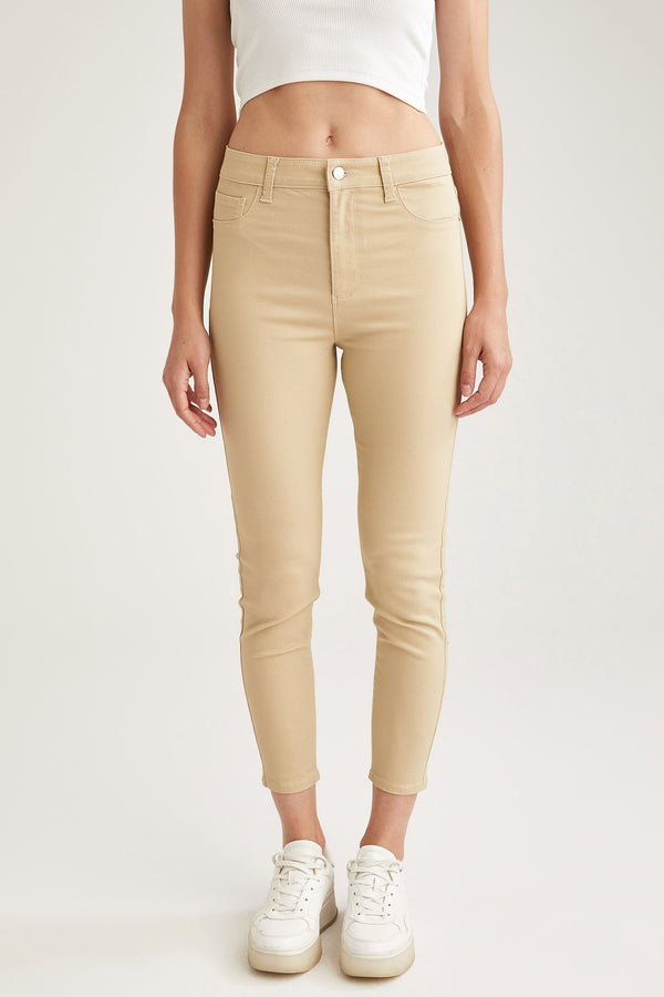 Super Skinny Fit High Waist Woven Trousers - Beige