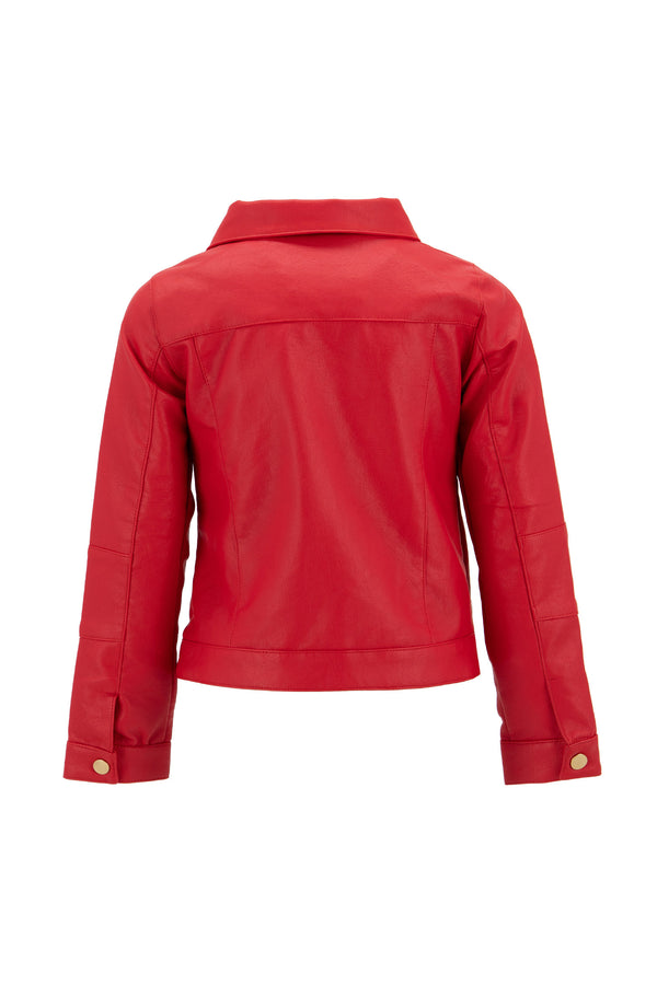 Regular Fit Faux Leather Coat - Red