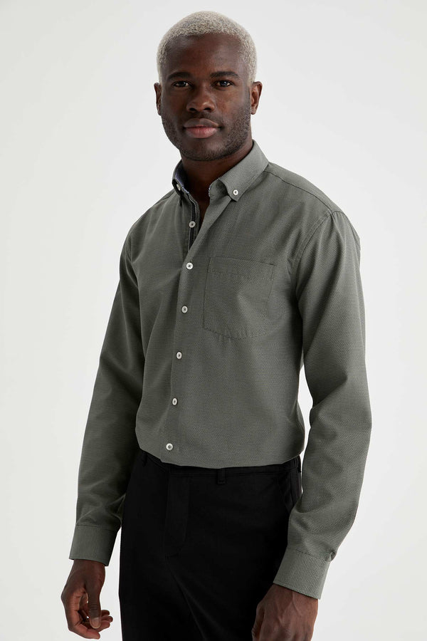 Slim Fit Polo Neck Woven Long Sleeve Shirt - Khaki