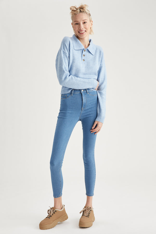 Super Skinny Fit High Waist Jeans - Blue