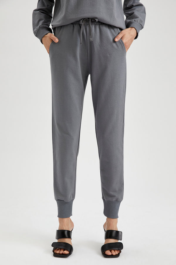 Regular Fit Organic Cotton Sweatpants - Grey
