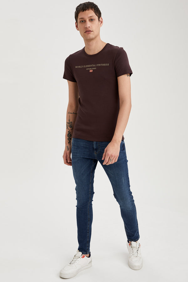 Slim Fit Crew Neck Short Sleeve Knitted T-Shirt - Brown