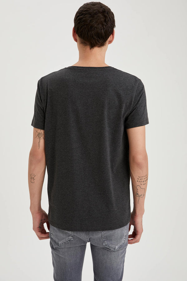 Regular Fit Crew Neck Short Sleeve Knitted T-Shirt - Anthracite