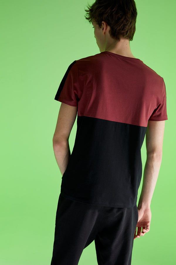 Slim Fit Crew Neck Short Sleeve Knitted T-Shirt - Bordeaux
