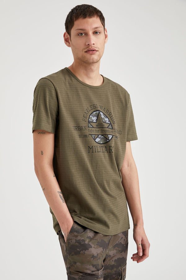 Slim Fit Crew Neck Short Sleeve Knitted T-Shirt - Khaki