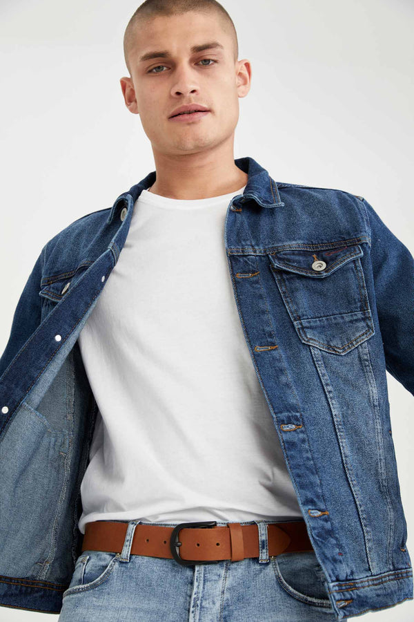 Slim Fit Jean Jacket - Blue