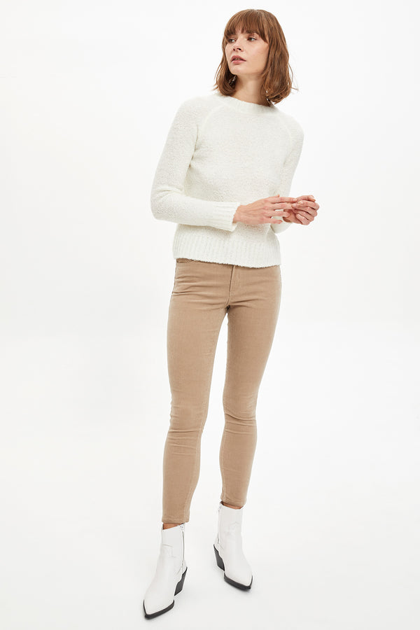 Regular Fit Crew Neck Long Sleeve Tricot Pullover - Ecru