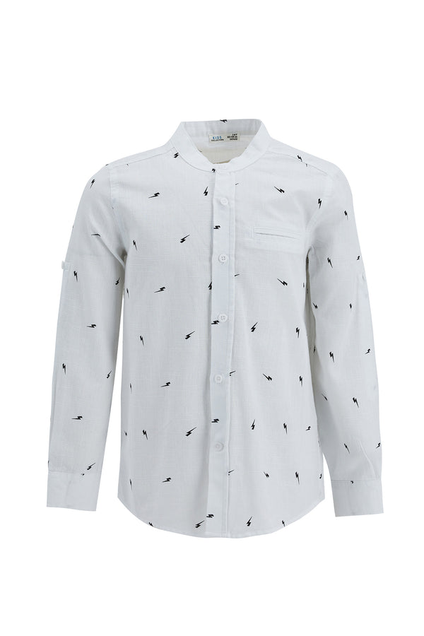 Regular Fit Stand Up Collar Woven Long Sleeve Shirt - White