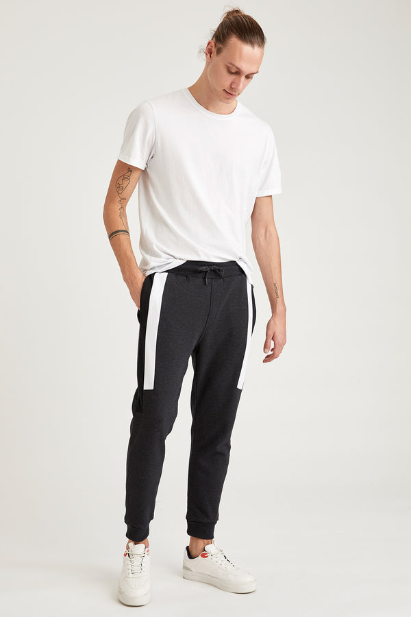 Slim Fit Rib Hems Knitted Trousers - Anthracite