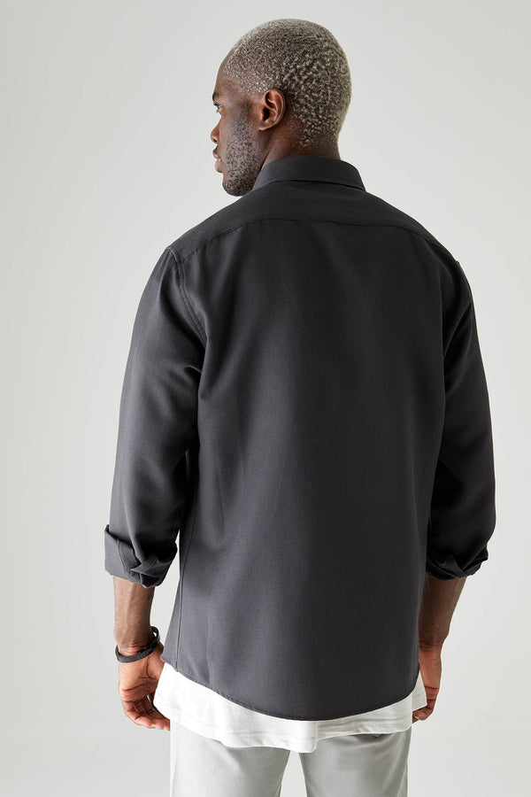 Slim Fit Polo Neck Woven Long Sleeve Shirt - Anthracite
