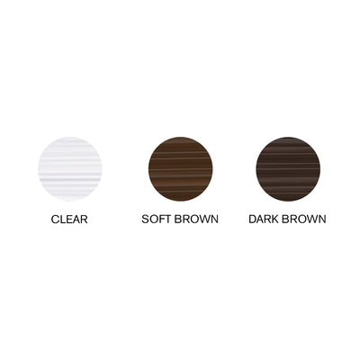 Image of swatches of Hi-Def Brow Gel shades (Clear, Soft Brown, & Dark Brown)