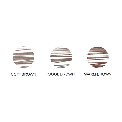 Image of swatches of Hi-Def Brow Pencil shades (Soft Brown, Cool Brown, & Warm Brown)