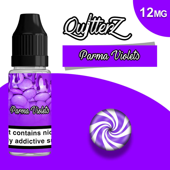 QuitterZ Parma Violets 10ml e liquid High PG 70Pg 30Vg