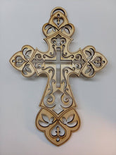 Load image into Gallery viewer, Laser-Cut Wooden Cross