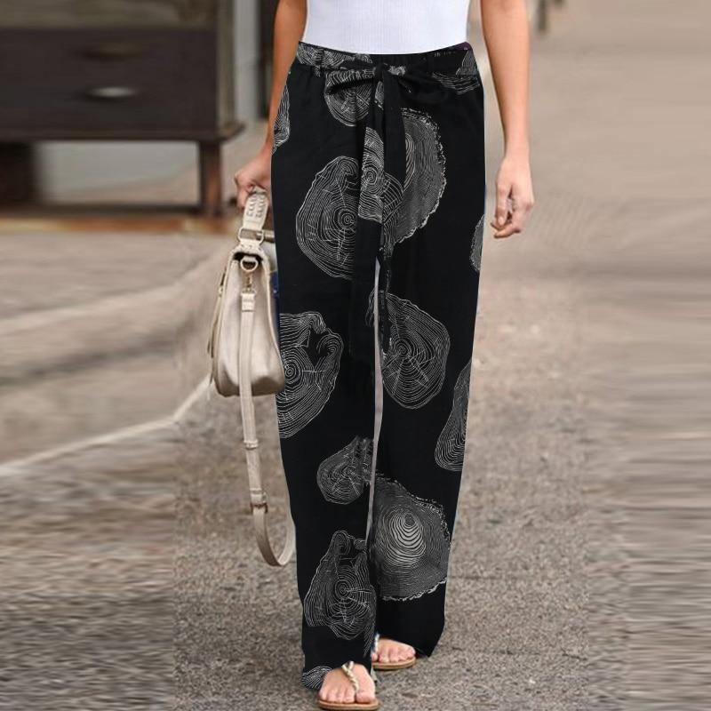 ZANZEA Autumn Pants Drawstring Pantalon Palazzo Fashion Women's Printed Trousers Female Elastic Waist Casual Turnip Plus Size - rastafarimarket