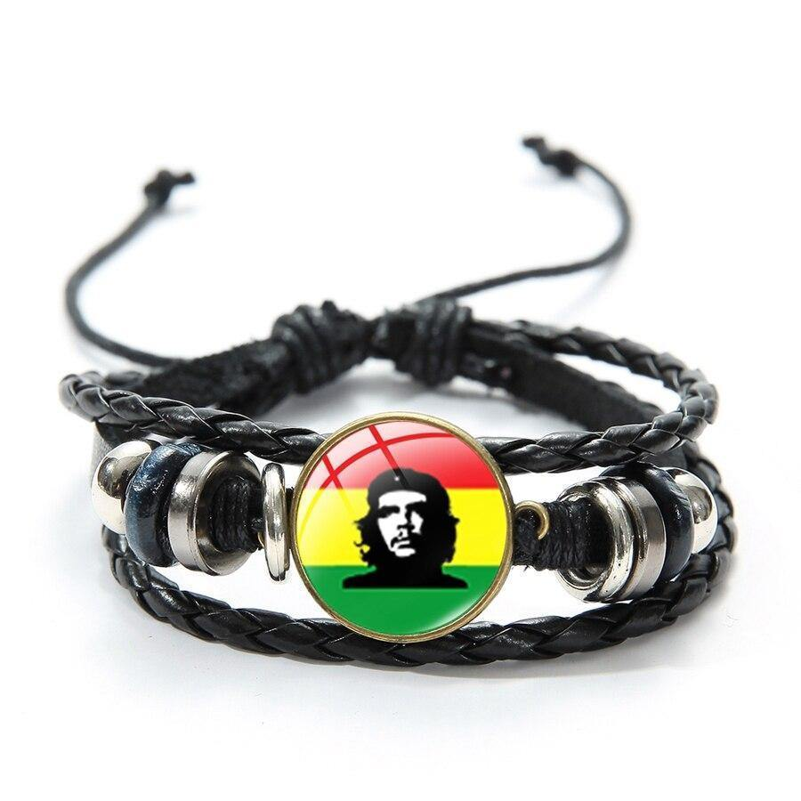Reggae Music Style Bob Marley Singer Bracelet Flag Pattern Punk Singer Art Printed Glass Button Leather Braided Bracelets - rastafarimarket