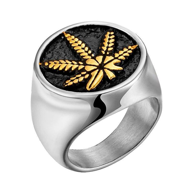Stainless Steel Weed Hemp Cannabises Signet Ring Punk Maple Leaf Rings For Men Biker Gold Rings Jewelry Bague - rastafarimarket