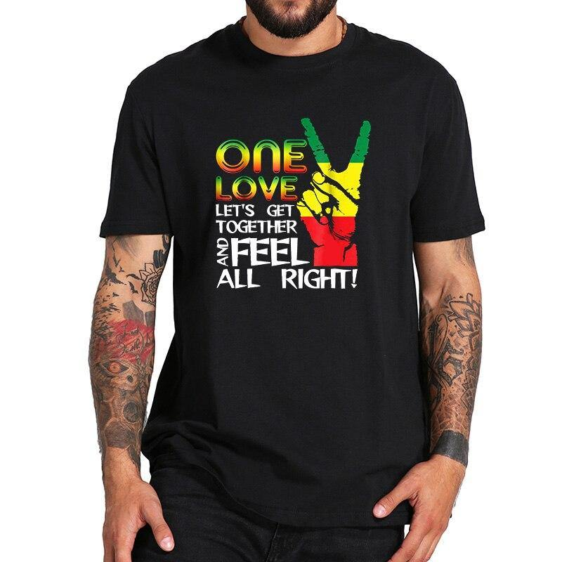 Jamaica One Love Reggae Caribbean Music Pride Flag T Shirt Modern Popular Music Tshirt Pure Cotton Digital Print Soft Tops - rastafarimarket