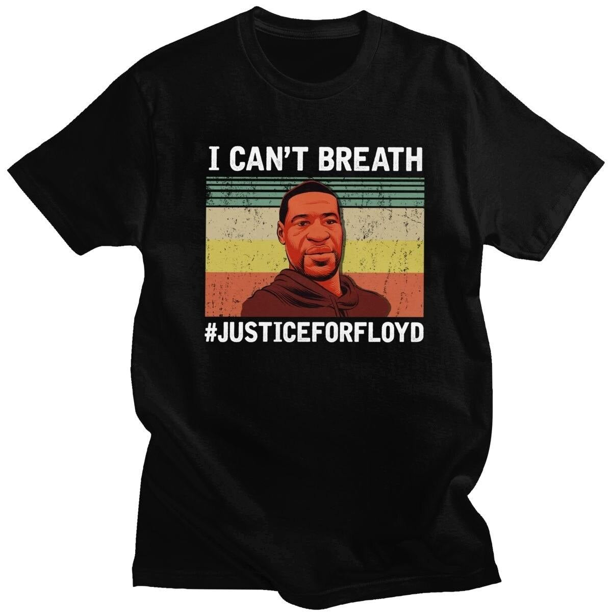 Retro Black Live Matter T Shirt Men 100% Cotton I Can't Breathe T-shirt Short Sleeve Justice For Floyd Tee Tops Fit Clothing - rastafarimarket