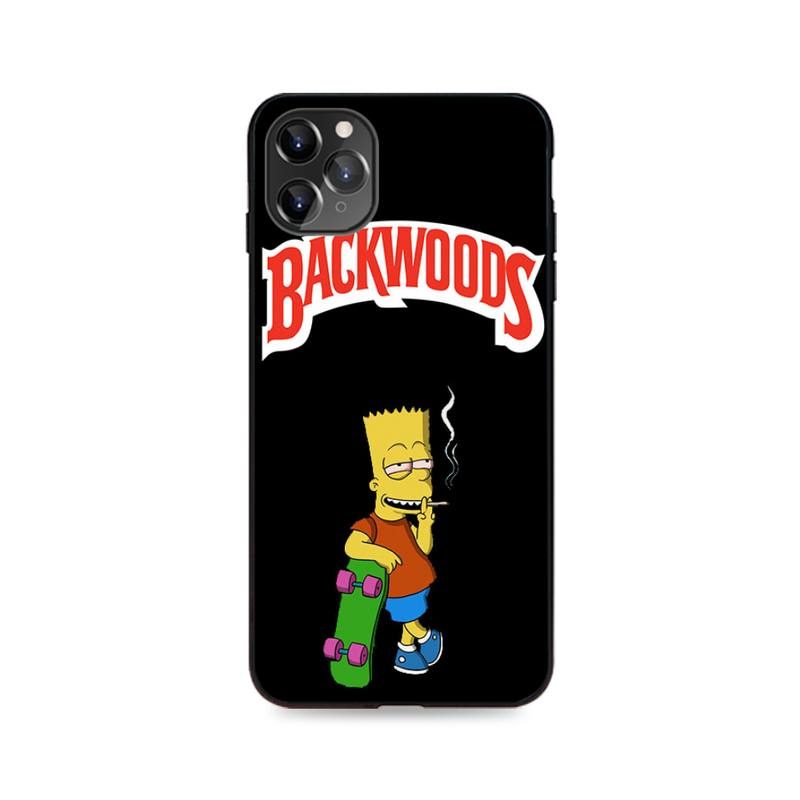 coque iphone noir <br> bart simpson smoke weed