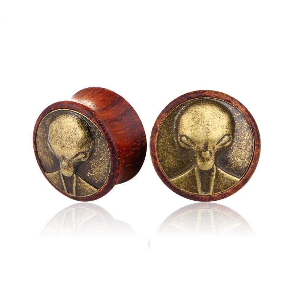 Miqiao 2pcs Wood Flesh Tunnels Saddle Ear Gauges Ear Plugs Expander 8mm-20mm Solid Hollow Body Piercing Jewelry For Men Women - rastafarimarket