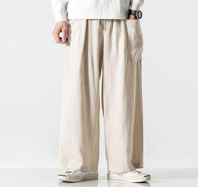 INCERUN Vintage Men Wide Leg Pants Cotton Joggers Pockets Elastic Waist Solid Baggy Trousers Men Streetwear Casual Pants 2020 7 - rastafarimarket