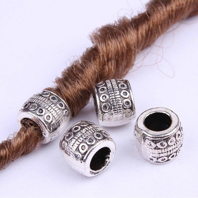 5pcs Retro Silver Metal Hair Braid Dread Dreadlock Beard Beads Rings Tube Appro 6mm Inner Hole Jewelry Size 11*9mm 14 Style - rastafarimarket