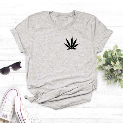 New Weed Plant print T Shirt Leaf Graphic Tee Fashion Women tops Casual Cotton Funny Shirt women's clothing drop shipping - rastafarimarket