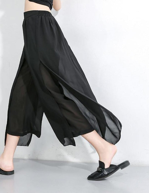 [EAM] 2021 New Spring Autumn High Elastic Waist Loose Black Chiffon Split Joint Wide Leg Pants Women Trousers Fashion Tide JX490 - rastafarimarket