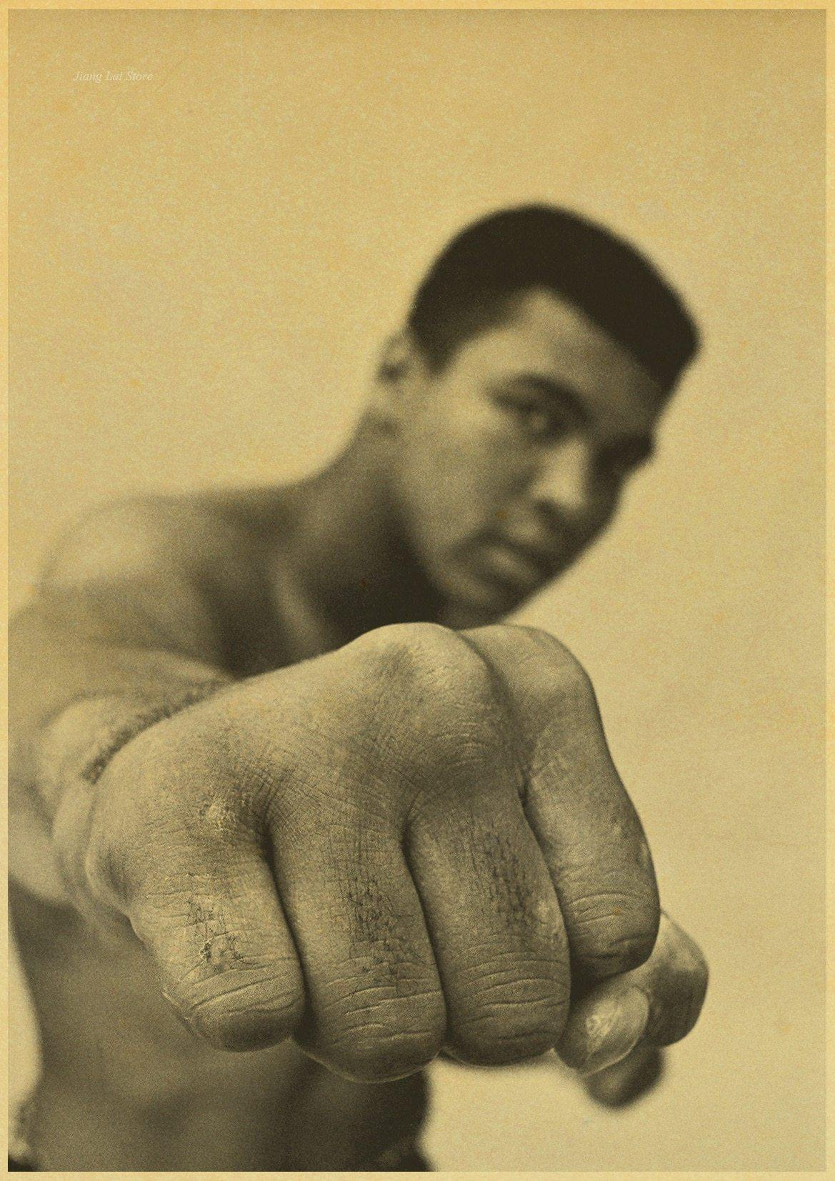 affiche mohamed ali <br>photo vintage poing du champion