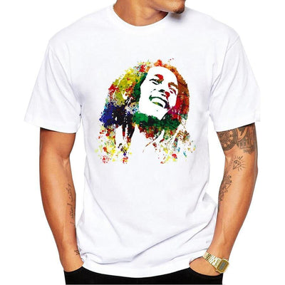 Vogue Men Music Style T Shirt Bob Marley Printed Kroean Tops White Mens Homme Brand Clothing Hip Hop Tee Casual Camiseta Mujer - rastafarimarket