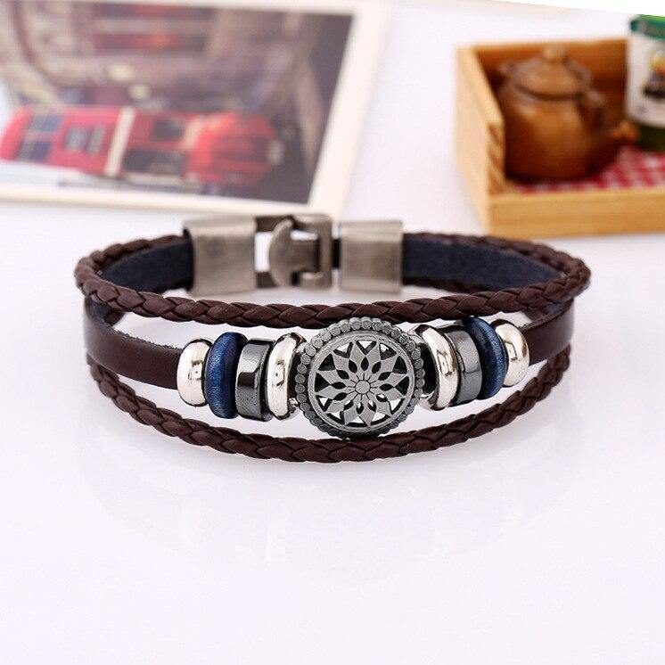 NADEEM Fashion Maple Leaf Design Handmade Charm Leather Bracelet For Men Women Jamaan Reggae Adjustable Braided Leather Bracelet - rastafarimarket