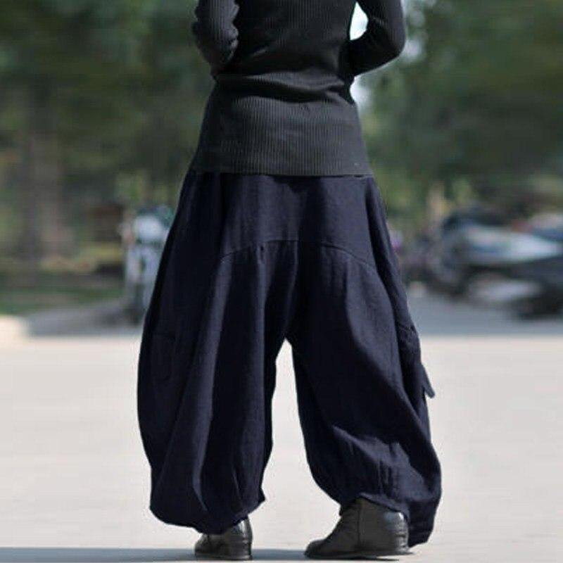 ZANZEA Women High Elastic Waist Lantern Pantalon Loose Baggy Pockets Cargo Pants Solid Cotton Linen Long Wide Leg Trousers - rastafarimarket