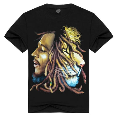 Men/Women 100% cotton Bob marley T-shirt Rock t shirt Summer Casual tshirt Men Solid Black hip hop Men tops loose t-shirts - rastafarimarket