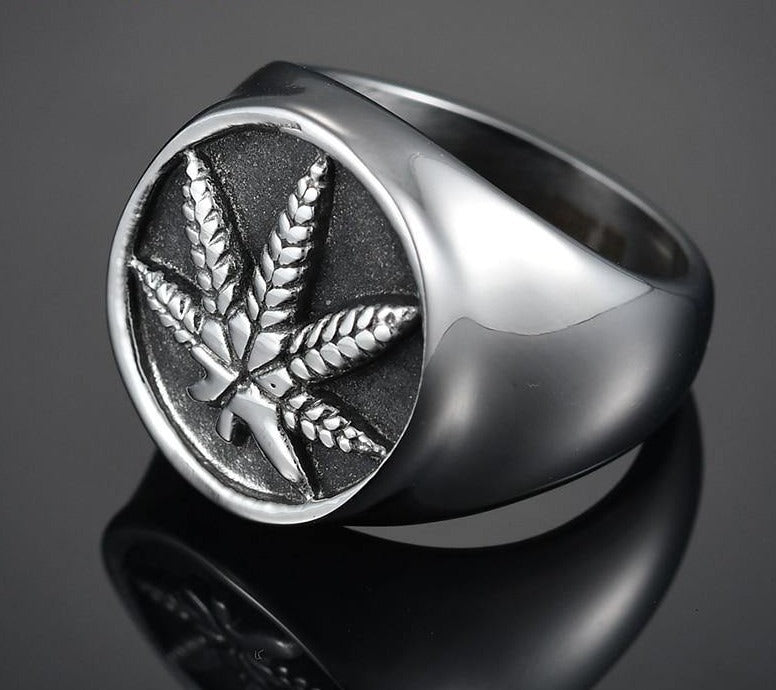Nextvance Stainless Steel Weed Hemp Cannabises Signet Ring Punk Maple Leaf Big Band Rings For Women Men Biker Jewelry Bague - rastafarimarket