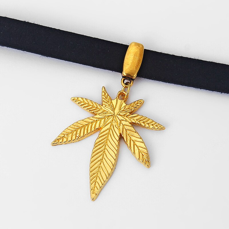 collier cuir punk <br> feuille de cannabis plaqué or  <br> Rastafari Market®