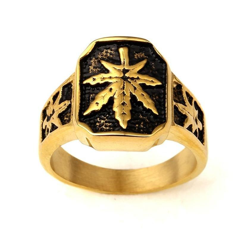 UWIN Men Stainless steel Ring Hip hop Punk Style Gold Color Black Oil Maple Leaf Weed Rings Jewelry Size 8/9/10/11/12 - rastafarimarket