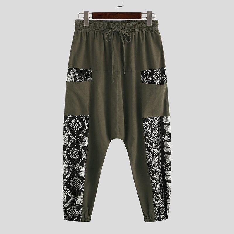 INCERUN Printed Men Harem Pants Vintage Cotton Joggers Drop Crotch Trousers Drawstring 2020 Loose Streetwear Casual Chic Pants 7 - rastafarimarket