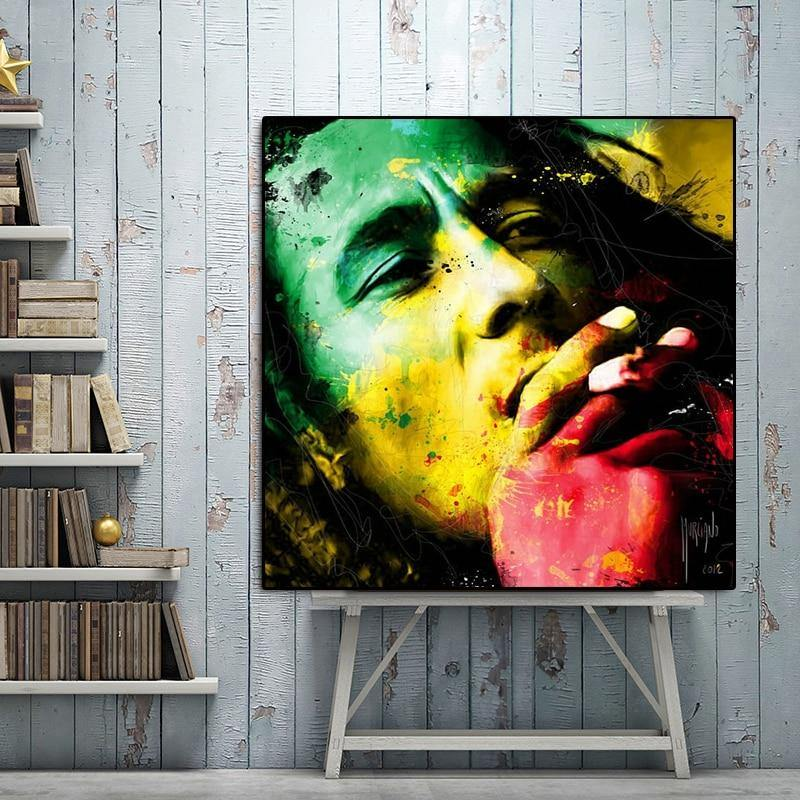 RELIABLI Bob Marley Watercolor Print Portrait Poster Canvas Painting Wall Colorful Pictures for Living Room Cuadros Home Decor - rastafarimarket