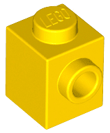 Brick Special 1 x 1 with Stud on 1 Side -  Yellow - כמות בשקית: 14 - TheBrick.co.il