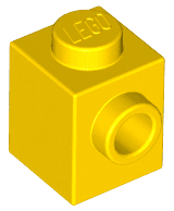 Brick Special 1 x 1 with Stud on 1 Side -  Yellow - כמות בשקית: 14