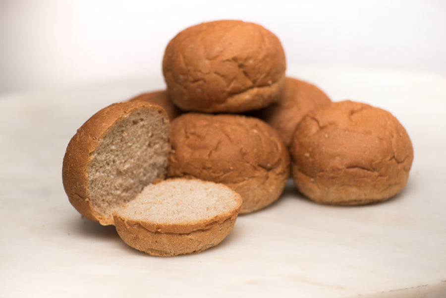Whole Wheat Hamburger Buns - 1/2 dozen