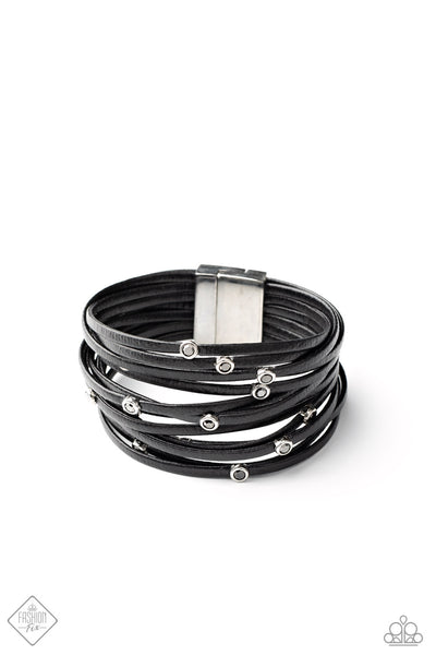 Fearlessly Layered - Black - Paparazzi Leather Cording Magnetic Bracelet Fashion Fix (#5175)