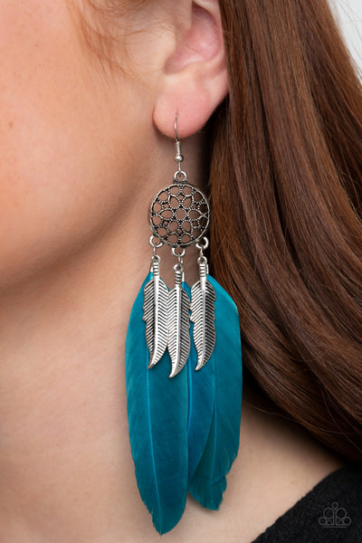 In Your Wildest DREAM-CATCHERS - Blue - Paparazzi Feather Earrings