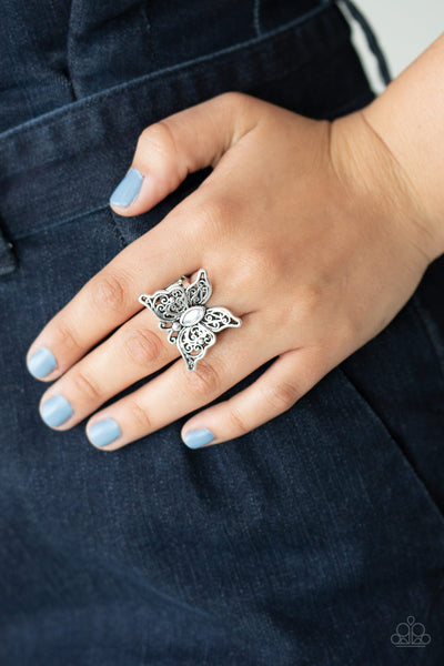 Flutter Flavor - White - Paparazzi Butterfly Cat's Eye Paparazzi Ring #5251