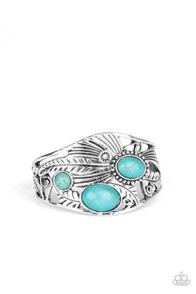 Mojave Moods - Blue - Paparazzi Cuff Feather Bracelet #4608