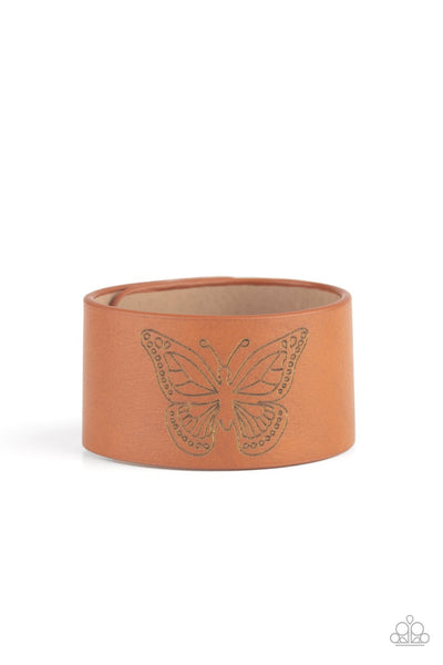 Flirty Flutter - Brown - Paparazzi Butterfly Snap Bracelet Life of the Party #5283