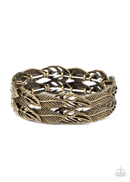 Its Five o FLOCK Somewhere - Brass - Paparazzi Feather Stretchy Bracelet