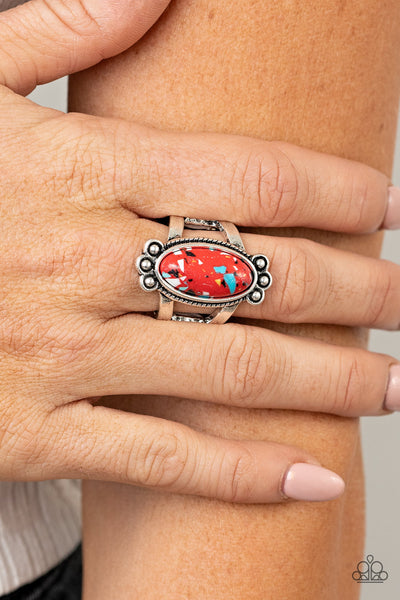 Psychedelic Deserts - Red - Paparazzi Ring