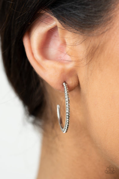 Dont Think Twice - White - Paparazzi Hoop Earrings
